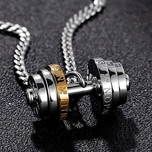 collana in acciaio inossidabile con bilanciere mens Coppia ciondoli Fitness uomo sportivo Accessori fitness gioielli sul collo orgoglio