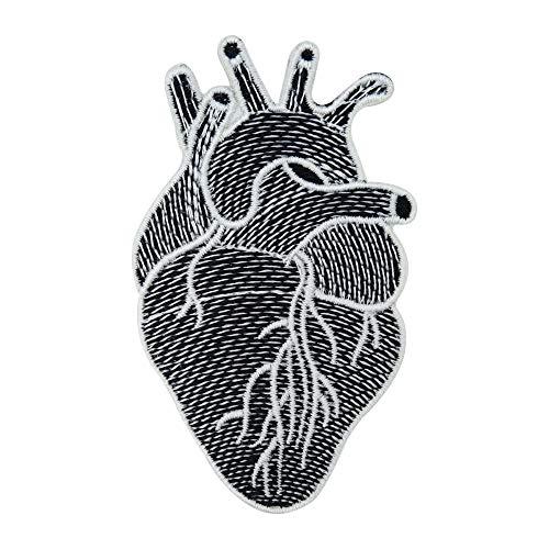 Finally Home Anatomisches Herz in schwarz weiß Bügelbild Patches zum Aufbügeln   Patch, Aufbügelmotive