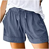 Aniywn Womens Casual Drawstring Elastic Waist Comfy Shorts Plain Solid Color Pocketed Shorts Pants Light Blue