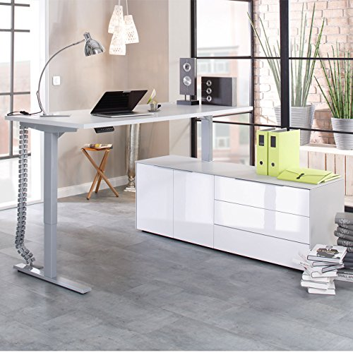 moebel-dich-auf Maja eDJUST elektrisch höhenverstellbarer Schreibtisch 135 * 160 cm in Platingrau/Lack weiß spiegelglanz