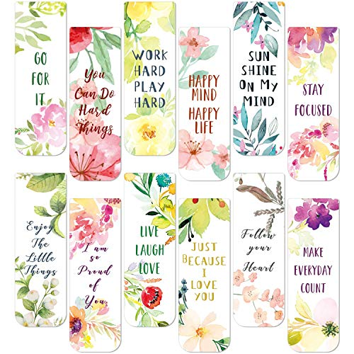 36 Pieces Flower Bookmarks Inspirational Quotes Magnetic Bookmarks Flower Poetry Theme Colorful Bookmarks Positive Magnetic Page Marker Bookmarks for Classmates Party Supplies