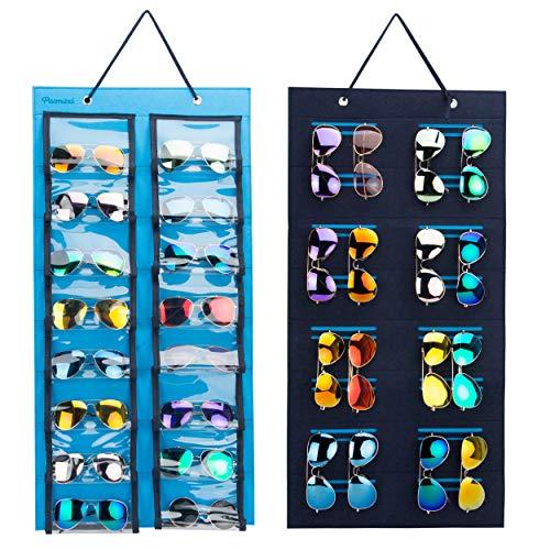 PACMAXI Staubdichter Sonnenbrillen-Hänge-Organizer, 32 Fächer, doppelseitige Sonnenbrillen-Aufbewahrung, Wandtasche, Brillen-Vitrine, Brillen-Aufbewahrung. blau