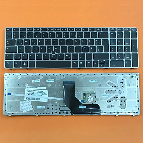 kompatibel für HP EliteBook 8560p Tastatur - Farbe: schwarz - mit Maus-Stick, mit Silber Rahmen - Deutsches Tastaturlayout