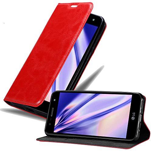 Cadorabo Hülle für LG X Power 3 in Apfel ROT – Handyhülle mit Magnetverschluss, Standfunktion & Kartenfach – Case Cover Schutzhülle Etui Tasche Book Klapp Style