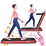 GYMAX 2 in 1 Folding Treadmill, 2.25HP Under Desk Electric Pad Treadmill, Portable Walking Jogging Running Machine, Motorized Flat Treadmill with Audio Bluetooth Speakers, Remote Controller (Red)
