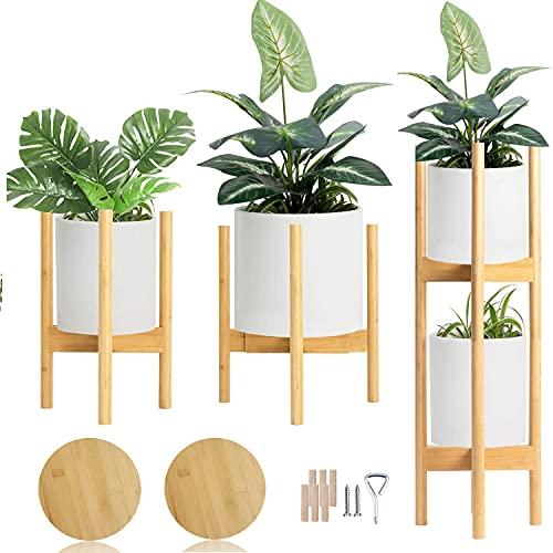 フラワースタンド 花台 2個入 積み重ね可能 竹製 鉢スタンド トレイ付き 幅30cmまで調整 て 植木台 て 丸いフラワーポットにフィット - 真ん中世紀 竹 花ポットホルダーは 近代的な家 装飾 ため 穀物