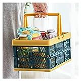 XIAOSAKU Cesta de Almacenamiento Caja de Compras de Almacenamiento Plegable con Mango Picnic Lavandería Verduras Frutas Cosméticos Plegables Organizador para Casa (Color : Blue, Size : M)