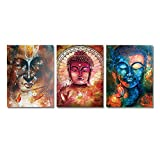 HD Print 3 Panel Buddha Statue Canvas Prints Wall Art Picture Oil Painting for Living Room (14x20inchx3pcs)
