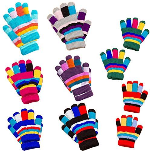 8 Paare Kinder Handschuhe Winter,Niedliche Volle Fingerhandschuhe Handschuhe Strick kinder Bunte, Winter Warme Strickhandschuhe Vollfinger Stretch Handschuhe,für Jungen Mädchen Kleinkind,8 Farben