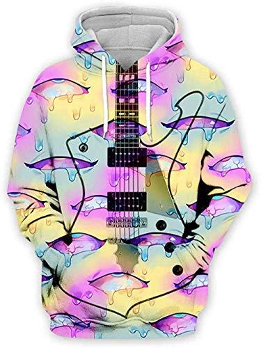 yyqx container 3D Sweatshirt Hoodie Gitaar Unisex Hooded Casual Hoodies Mode Sweatshirt 3D Printing Hoodie Opvallende Truien met Kangoeroe Pocket