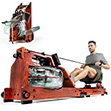 Premium Water Rowing Machine with Patented Folding Function + App Compatible- Multiplayer Mode & Video Events I Heart Rate Belt I 3in1 Water Resistance I Real Wood Rowing Machine for Home Use - WRX700