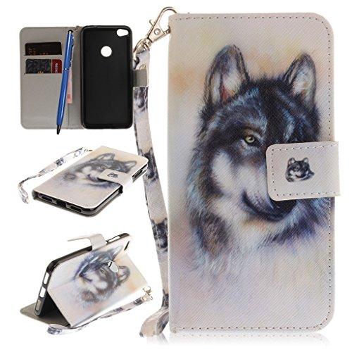 CareyNoce Huawei P8 Lite Hülle,PU Leder Wallet Hülle Folio Schutztasche HandyHülle für Huawei P8 Lite 2017