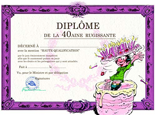 Gaston Lagaffe dubbele kaart, met envelop voor verjaardag, Diplom de la 40aine Rugissant - Cake kaarsen voor crème crème aardbei