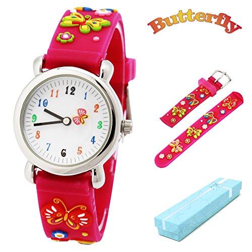 Vinmori Kinder Armbanduhr Jungen und Mädchen, wasserdichte Quarzuhr mit süßer 3D-Karikatur Biene (BFLY-Pink-St)