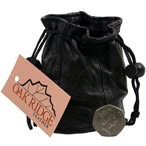 New Oakridge Small Black Leather Drawstring Pouch Change Coins Wrist Mens Ladies