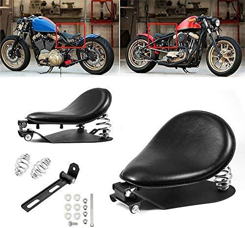 Amazicha 3 Black Solo Seat Bracket Base Chrome Barrel Springs Mounting Kit Compatible for Harley product image