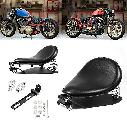 "Amazicha 3"" Black Solo Seat Bracket Base Chrome Barrel Springs Mounting Kit Compatible for Harley Honda Yamaha Kawasaki Suzuki Sportster Bobber Chopper"