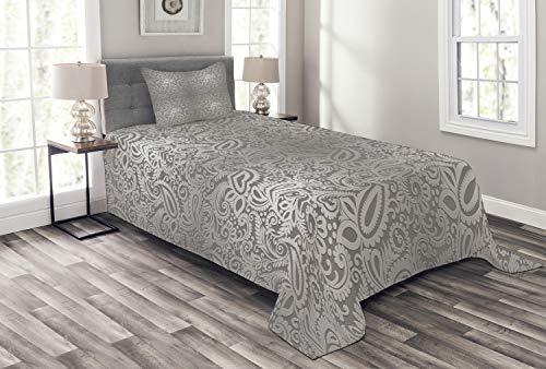 ABAKUHAUS Damast Tagesdecke Set, Königliche Paisley-Muster, Set mit Kissenbezügen Waschbar, für Einselbetten 170 x 220 cm, Grau