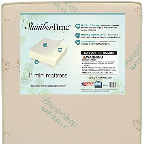 Simmons Kids SlumberTime Naturally 4-Inch Mini Crib Mattress | Waterproof