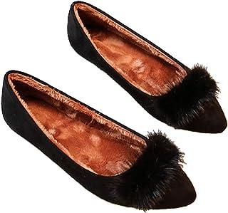 [happylaladream] レディース パンプス 痛くない ぺたんこ靴 ファー スエードパンプス ローヒール/ブラック