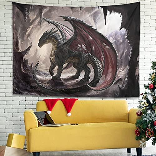 Wandlovers Tapiz de pared con diseño de dragón, hippie y místico, para decoración del hogar, color blanco, 150 x 150 cm