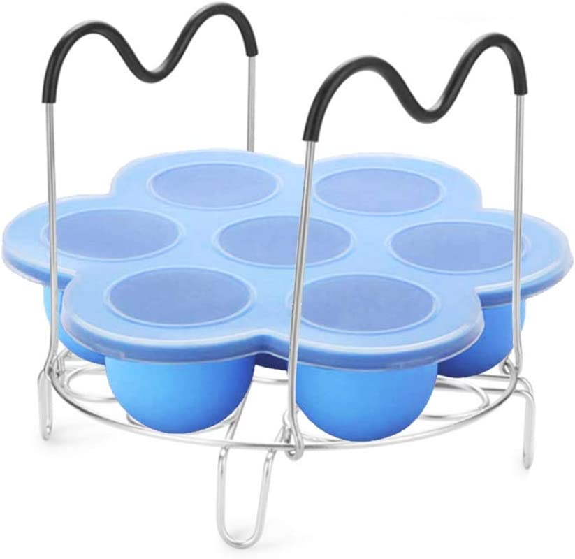 SAKOLLA Silicone Egg Bites Molds With 9 Hole Stainless Steel Steamer Rack With Heat Resistant Silicone Handles For Instant Pot 6 Qt 8 Qt Pressure Cookers Accessories