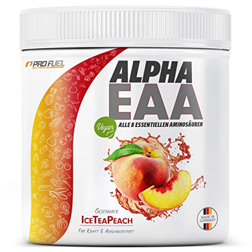 ALPHA EAA Pulver | Enthält 8 essentielle Aminosäuren | Vegan EAAs Aminosäuren Pulver | Amino Workout Drink | MADE IN GERMANY | Optimale Wertigkeit | Leckerer Geschmack (Eistee Pfirsich)