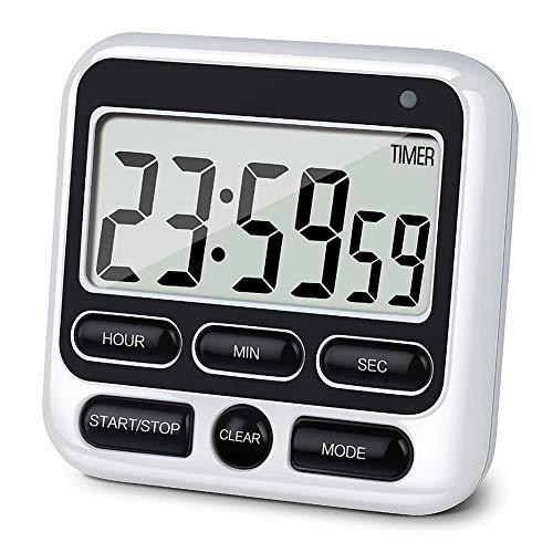 SCOBUTY Timer,küchentimer magnetisch,Timer digital,Magnetischer Countdown-LED-Digital-Timer mit einstellbarem Alarm und Speicherfunktion für Backen, Sport, Studieren