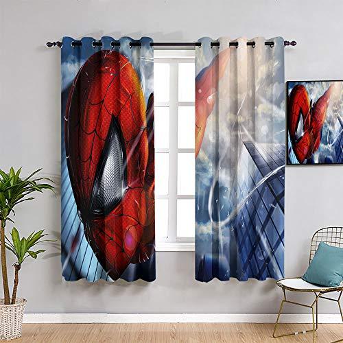 ZhiHdecor The Avengers Curtain Spider Man - Cortinas opacas para oscurecer la habitación (72 x 243 cm), diseño de araña