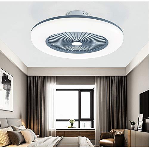 Deckenventilator mit Beleuchtung, leise unsichtbare Deckenventilator LED Licht, Dimmbar mit Fernbedienung, led Deckenlampe für Schlafzimmer Wohnzimmer Esszimmer (Grau)