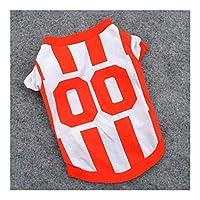 MINGTAI 夏の犬のベストのサッカージャージーのクールな通気性のペットの猫の服子犬アウトドアスポーツファッションメッシュ犬のワイシャツXS-L (Color : Orange, Size : XS)