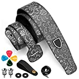 Leather Guitar Strap for Acoustic/Electric/Bass Guitar, Adjustable Guitar Strap with Picks/Headstock Adapter/Strap Locks and Button, Silver PU Leather Embossing