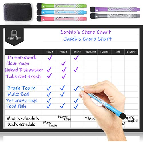 Magnetic Chore Chart for Fridge – Dry Erase Behaviour Chart for Multiple Kids and Adults – Responsibility Reward White Board Chart – Children Chore Board with Magnets, 5 Markers & Eraser