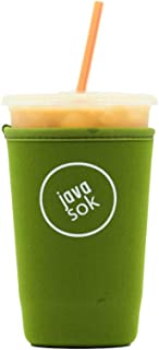 JAVA SOK Reusable Iced Coffee Sleeve - Cup Insulator Sleeve for Cold Beverages and Neoprene Cup Holder | Ideal for Starbucks Coffee, McDonalds, Dunkin Donuts, More (Green, Medium 22–24oz)