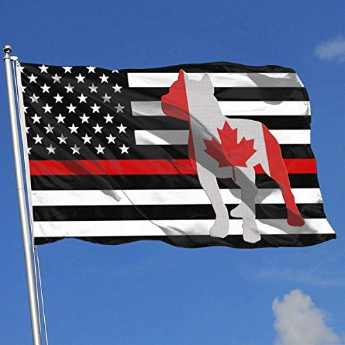 Oaqueen Banderas Patriotic Pitbull Canada Flag Breeze Flag 3 X 5-100% Polyester Single Layer Translucent Flags 90 X 150CM - Banner 3' X 5' Ft