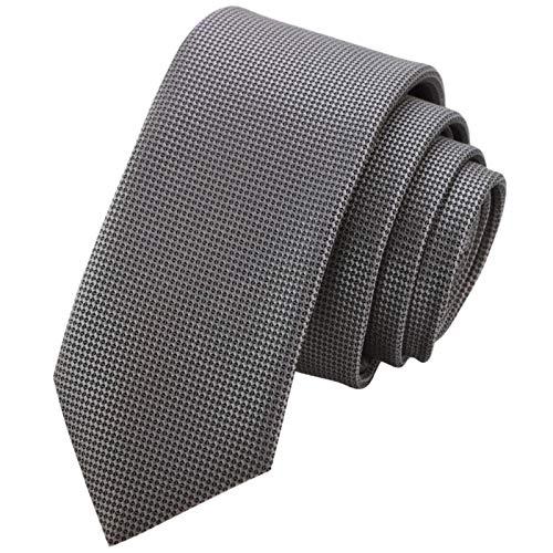 GASSANI 6cm Breite, Graue Schmale Dünne Herrenkrawatte Strukturiert Extra-Lang, Krawatten-Set, Herrenschlips