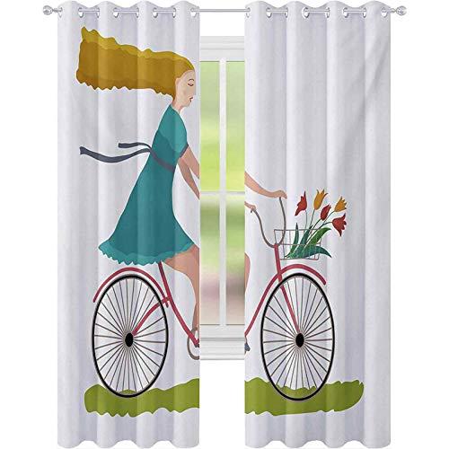 Cortinas de ventana oscuras, mujer joven en bicicleta con canasta de tulipán flores montar en el campo de primavera, 2 paneles de ancho 52 x largo 108 cortina opaca para sala de estar, multicolor