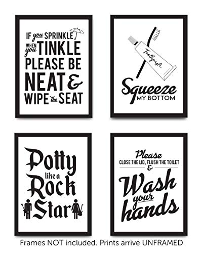 Set of 4 Funny Bathroom Quotes & Rules (UNFRAMED) Best Modern Toilet Decor Words & Letters   Premium Card Stock Sayings Posters   (8x10) Black & White Prints (Option 2)