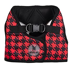 The Worthy Dog Step-in Sidekick Houndstooth Pattern Harness with Padded Mesh Velcro Adjustable, Outdoor, Easy Walk Vest for Dogs-Red/Black
