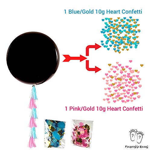 2 XL Baby Gender Reveal Balloons | 20 Team Boy or Girl Wristbands For Baby Shower Party Games | Pink and Blue Heart Confetti with Tassels | 26pcs Gender Reveal Party Supplies Kit |