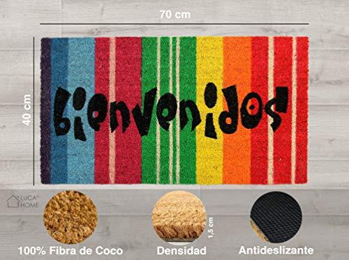 LucaHome - Felpudo Coco Natural 40x70 Antideslizante, Felpudo de Coco Bienvenidos Arcoiris, Felpudo Absorbente Entrada casa, Ideal para Exterior o Interior