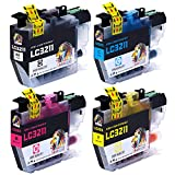 AUBEN LC3211 LC3213 Cartuchos de Tinta 4 Reemplazo para Brother LC-3211 LC-3213 Compatible con Brother DCP-J572DW MFC-J491DW MFC-J497DW DCP-J772DW DCP-J774DW, MFC-J890DW MFC-J895DW