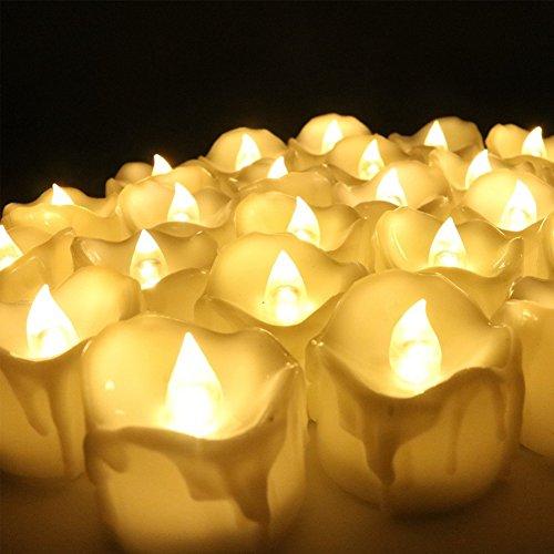 ZUOAO Lot de 12 Bougies à LED Electronique avec Minuterie et Piles sans Flamme Décor pour Noël/Halloween/Saint Valentin/Anniversaire/Mariage/Votive, Jaune Chaud