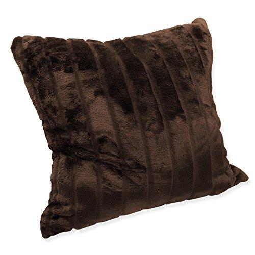 Haus und Deko Weiche Cashmere Touch Kissenhülle Kissenbezug ca. 60x60 cm Dekokissen flauschig in Streifen Nerz Fell Optik Braun
