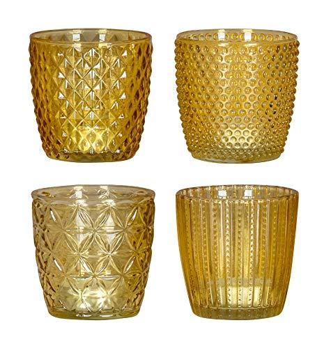 levandeo 4er Set Windlicht H7,5cm Glas Gelb Teelichthalter Kerzen Retro Kerze Kerzenhalter Tischdeko Deko
