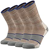 Ortis Men's Merino Wool Moisture Wicking Outdoor Hiking Cushion Crew Socks 4 Pack(Khaki)