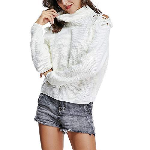 Alikeey Gebreide trui voor dames, wit, O-nek, lange mouwen, gebreid, gebreid, blouse, pullover tops, tumblr esprit sweatshirt