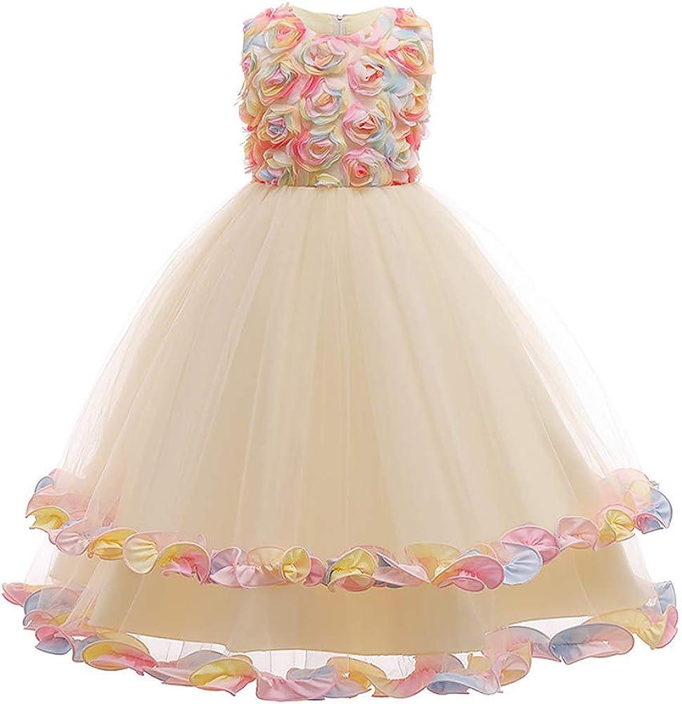 ODASDO Flower Girl Dress Kids Wedding Bridesmaid Tulle Princess Birthday Party Dress Sleeveless A-line Pageant Clothes