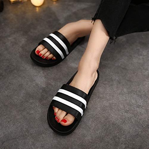 Slippers Vrouwelijk Huis van de zomer Indoor Badkamer Non-Slip Bathing zachte bodem homewear Leuk Mannelijk Startpagina sandalen en slippers Couple,Black,42/43