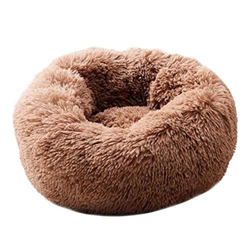 Kennel LKU Pluche superzachte hondenmand kennel hond ronde kat winterwarme slaapzak, koffie, XXL 90x90cm